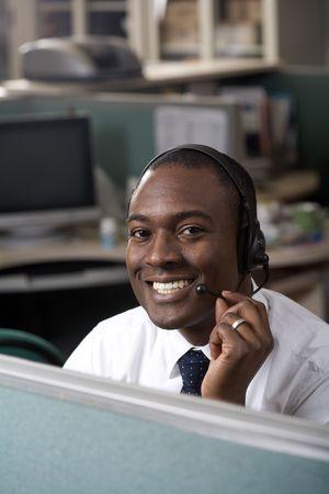 Businessman talking on headset Stock Photo - 4517997