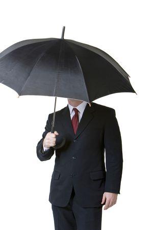 사업가 들고 우산