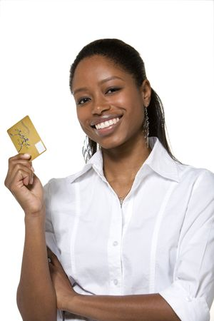 holding the head: Portrait of businesswoman holding credit card
