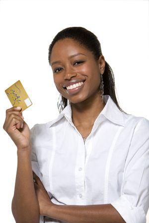 tarjeta de credito: Retrato de empresaria celebraci�n de tarjeta de cr�dito