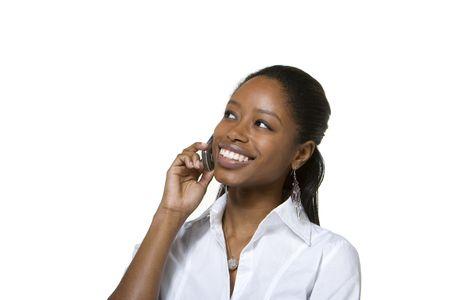 휴대 전화에 얘기하는 사업가의 초상화 스톡 콘텐츠