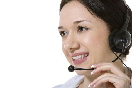 phoning: Businesswoman talking on headset Stock Photo