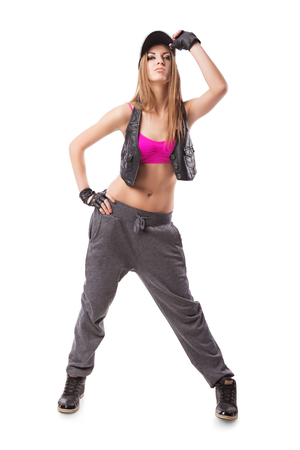 aerobica: Modern hip-hop girl on isolated background Stock Photo