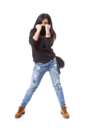 Modern hip-hop girl dancing studio photo
