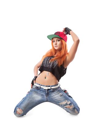 aerobica: Modern hip-hop girl kneeling Stock Photo