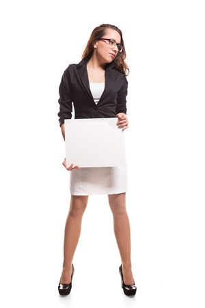 supercilious: Business woman with blank banner