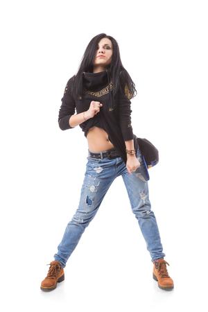 gogo girl: Modern Dance Hip-Hop-M�dchen zeigt ihre Nabel. Breakdance go-go M�dchen stand auf wei� Lizenzfreie Bilder
