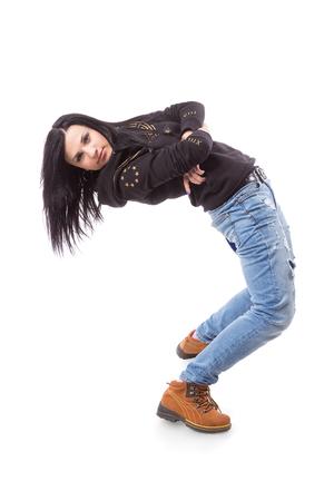 gogo girl: Modern Dance Hip-Hop-M�dchen verbiegt auf wei�. Breakdance go-go M�dchen stand auf wei�