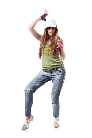 gogo girl: Modern Dance Hip-Hop-M�dchen, die isoliert auf wei�. Junge Go-Go-Tanz M�dchen isoliert auf wei�em Hintergrund