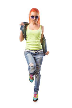 Modern dance hip-hop girl isolated on white. Young teenager with glasses on isolated background photo