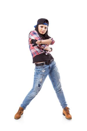 gogo girl: Modern Dance Hip-Hop-M�dchen, die isoliert auf wei�. Breakdance go-go M�dchen stand auf wei�