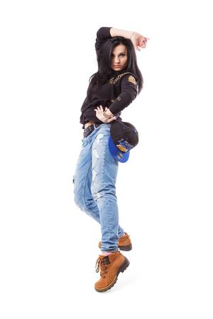 gogo girl: Modernen Hip-Hop-M�dchen stand auf wei�em Hintergrund. Breakdance go-go M�dchen stand auf wei�