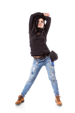 gogo girl: Modernen Hip-Hop-Mädchen stand auf weißem Hintergrund. Breakdance go-go Mädchen stand auf weiß