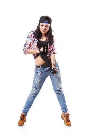 gogo girl: Modernes Hip-Hop-Tanzmädchenhaltung auf weißem Hintergrund. Breakdance Go-Go-Mädchen stand auf weiß