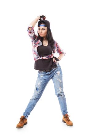 gogo girl: Modernes Hip-Hop-Tanzm�dchenhaltung auf wei�em Hintergrund. Breakdance Go-Go-M�dchen stand auf wei�