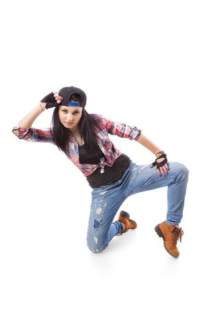 gogo girl: Moderne Hip-Hop-Tanz-M�dchen posieren auf wei�em Hintergrund. Breakdance go-go M�dchen stand auf wei�