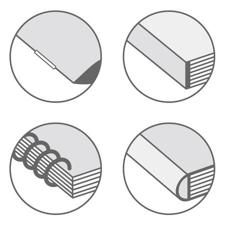 Types of corner bookbinding icons, vector illustration. Vettoriali
