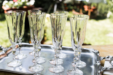 empty glasses of champagne