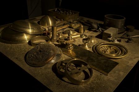 machinery - workshop - gold metal