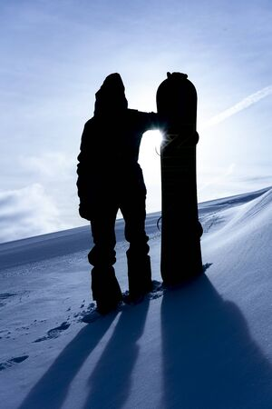 silhouette of a snowboarder in Italy Editorial