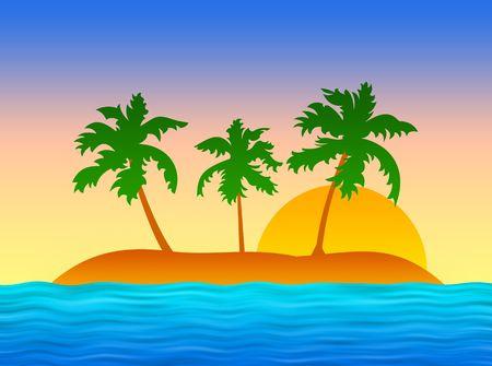 bluer: Tropic island with palms