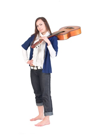 Girl with acoustic guitar photo
