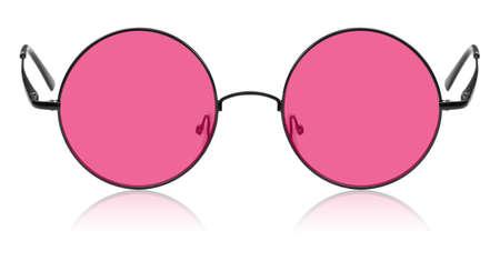 rosa negra: Aislados gafas redondas hippie rosa