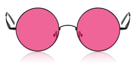 funny glasses: Isolated pink hippie round glasses
