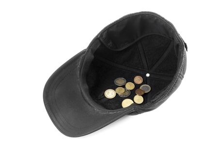 Cap with small change coins. The symbol of alms poverty in crisis or bankruptcy. Old dirty cap with euro cents on white background.