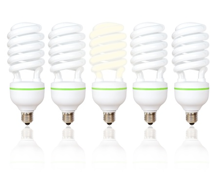 Five energy saving light bulbs with green lines with one lit on a white background Stock Photo - 12974036