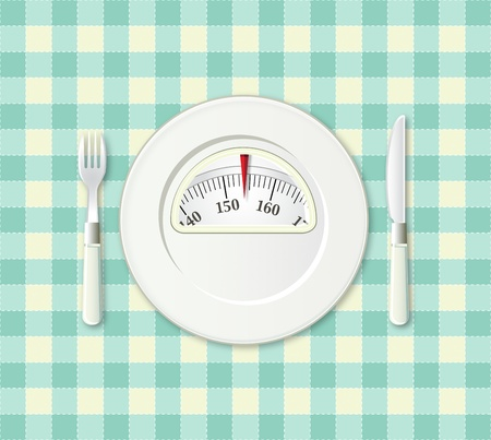 Plate with fork and knife on a plaid with a weight balance scale integrated in the plate photo