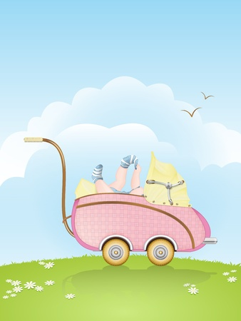 A pink retro styled baby buggy carrying a baby, playing with its right sock photo