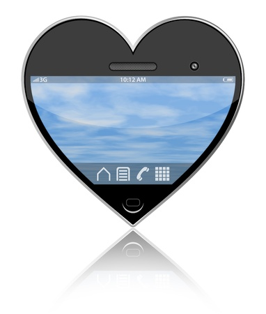 Heart shaped smartphone on a white background photo