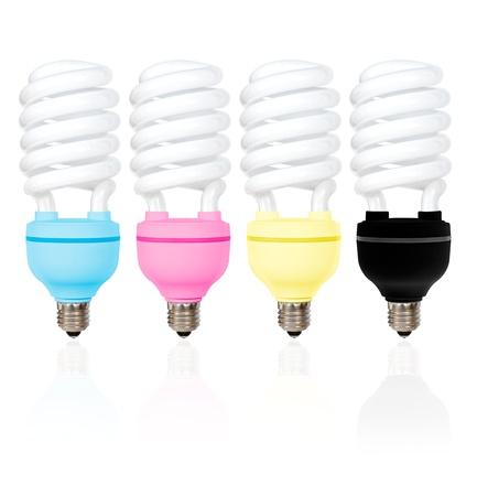 Four CMYK coloured energy saving light bulbs on a white background Stock Photo - 12983063
