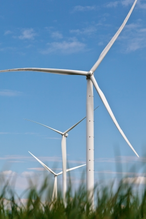Windturbines in a row with a field of grass in front Stock Photo - 13930064