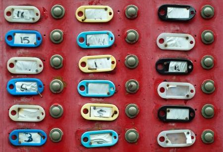 Group of doorbells with empty address labels