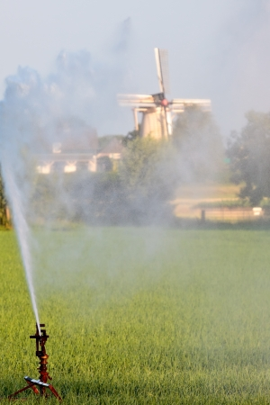 Water sprinkler system irrigating land with a Dutch windmill in the background photo