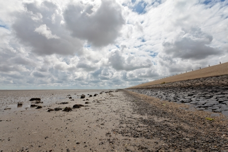 wadden sea: Dutch wadden sea at the Texel coast during low tide with cloudy sky Stock Photo