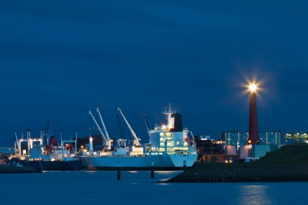 Harbor view of IJmuiden at the North Sea in The Netherlands photo