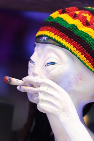 Alien smoking weed at a coffeeshop in Amsterdam Stock Photo - 14538998