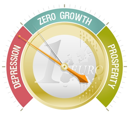 Concept illustrating the European crisis with a barometer indicating depression