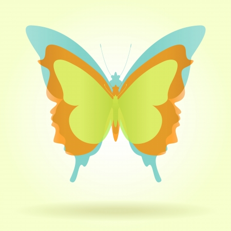 Three butterflies with vintage colors grouped behind each other against a yellow retro background
