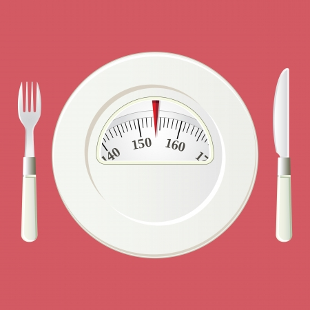 kilograms: Plate with a weight balance scale. Diet concept with vintage colors