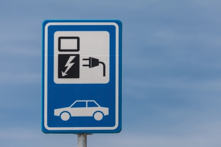 Dutch blue with white sign for charging an electric vehicle photo
