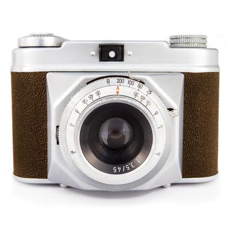 Uitstekende foto camera met bruine lederen bekleding op wit wordt geïsoleerd Stockfoto