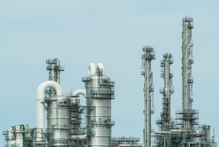 Front view of an oil refinery against a clear blue sky Stock Photo - 14883426