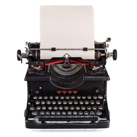 typewriter: Escritor antiguo tipo holandés con la hoja de papel aislado en blanco Foto de archivo