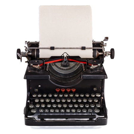 typewriter: Old Dutch type writer with paper sheet isolated on white Stock Photo