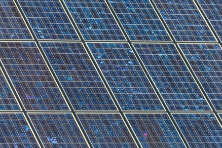 Detail of a large wall of blue industrial solar panels Stock Photo - 14967069