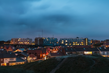 Late night view of the Dutch village Egmond aan Zee situated directly near the North sea